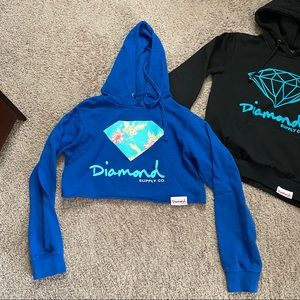 Diamond supply co cropped hoodie S